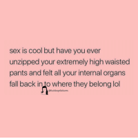 Fall, Lol, and Sex: sex is cool but have you ever  unzipped your extremely high waisted  pants and felt all your internal organs  fall back in to where they belong lol  @fuckboysfailures