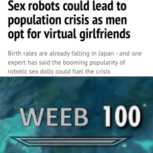 Sex, Japan, and Dank Memes: Sex robots could lead to  population crisis as men  opt for virtual girlfriends  Birth rates are already falling in Japan - and one  expert has said the booming popularity of  robotic sex dolls could fuel the crisis  WEEB 100 Omni Crisis