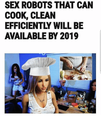 Memes, Sex, and Worldstar: SEX ROBOTS THAT CAN  COOK, CLEAN  EFFICIENTLY WILL BE  AVAILABLE BY 2019 It's over for women in 2019 😩😂👩‍🍳 @worldstar WSHH