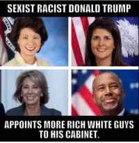 SEXIST RACIST DONALD TRUMP  APPOINTS MORE RICH WHITE GUVS  TO HIS CABINET. #Trump is my president!