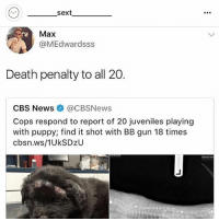 News, Cbs, and Death: sext  Max  @MEdwardsss  Death penalty to all 20.  CBS News @CBSNews  Cops respond to report of 20 juveniles playing  with puppy; find it shot with BB gun 18 times  cbsn.ws/1UkSDzU Follow my bffl @_________sext____________ @_________sext____________ @_________sext____________ 🤡🤡🤡