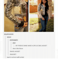 Future, Ironic, and School: Sexy shroomish  warulv:  pixelnuggets:  j4ya  MY FRIEND DIANE MADE A ZIPLOC BAG JACKET  She is the future  SNACK JACKET  SNACKET  back to school outfit Sorted don't let @topshop see this