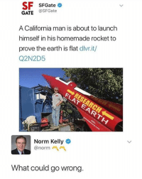 Memes, Norm Kelly, and California: SF SFGateo  GATE @SFGate  A California man is about to launch  himself in his homemade rocket to  prove the earth is flat dlivr.it/  Q2N2D5  Norm Kelly  @norm  What could go wrong.
