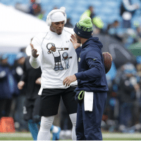 Pre game respect between Cam Newton and Russell Wilson. 🏈🏈🏈: SFAH  H Pre game respect between Cam Newton and Russell Wilson. 🏈🏈🏈