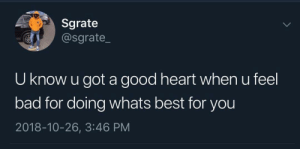 Bad, Dank, and Memes: Sgrate  @sgrate_  U know u got a good heart when u feel  bad for doing whats best for you  2018-10-26, 3:46 PM Just remember those who you are letting down,are the ones that didn't want you to come up in the first place by montero19 MORE MEMES