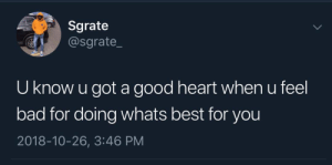 Bad, Dank, and Memes: Sgrate  @sgrate_  U know u got a good heart when u feel  bad for doing whats best for you  2018-10-26, 3:46 PM Im a good boy by -ilivefortheupvotes- MORE MEMES