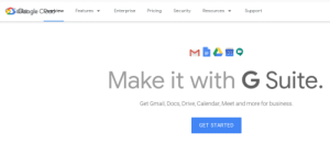 Thanks, Google Cloud website. That's totally how it should render.: SGtogle CRxaeriew  Enterprise  Pricing  Features -  Security  Resources ▼  Support  Make it with G Suite.  Get Gmail, Docs, Drive, Calendar, Meet and more for business.  GET STARTED Thanks, Google Cloud website. That's totally how it should render.