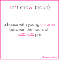 send help please!!: sh*t show: (noun)  a house with young children  between the hours of  5:00-8:00 pm  @crazymamadrama send help please!!