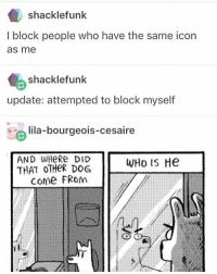 Crazy, Lol, and Meme: shacklefunk  l block people who have the same icon  as me  shacklefunk  update: attempted to block myself  lila-bourgeois-cesaire  AND WHeRe DID  WHo He  THAT OTHER DOG  Come FRom Owning two meme accounts is weird, like what account am I in now? Wait what happened to my follower count? Oh yeah wrong account. It's crazy😂 -Ember ( for those who don't know my new account is @that.clean.meme.girl) lol hilarious cleanaccount cleanmemes hahaha cleanfunnyme