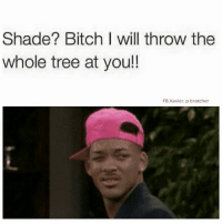 💯: Shade? Bitch I will throw the  whole tree at you!!  FB Xavier. po bratcher 💯