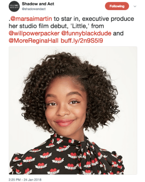 "thechanelmuse: black-ish star Marsai Martin's breakout role is here. She has been tapped to lead the upcoming film, Little, which is from Will Packer and Kenya Barris. The film ""centers on a woman who gets the chance to relive the carefree life as her younger self (Martin), when the pressures of adulthood become too much."" Martin's not just starring in the film either. She came up with the script idea and will executive produce as well.  Read more Creating and producing her lead role at 13. Yessss, Marsai!! : Shadow and Act  @shadowandact  SHADOW  AND ACT  Following  @marsaimartin to star in, executive produce  her studio film debut, Little,' from  @willpowerpacker @funnyblackdude  @MoreReginaHall buff.ly/2n9S519  2:25 PM - 24 Jan 2018 thechanelmuse: black-ish star Marsai Martin's breakout role is here. She has been tapped to lead the upcoming film, Little, which is from Will Packer and Kenya Barris. The film ""centers on a woman who gets the chance to relive the carefree life as her younger self (Martin), when the pressures of adulthood become too much."" Martin's not just starring in the film either. She came up with the script idea and will executive produce as well.  Read more Creating and producing her lead role at 13. Yessss, Marsai!!"