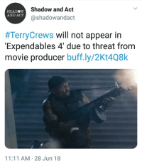 "Definitely, Terry Crews, and Tumblr: Shadow and Act  @shadowandact  SHADOW  AND ACT  #TerryCrews will not appear in  Expendables 4' due to threat from  movie producer buff.ly/2Kt4Q8k  11:11 AM 28 Jun 18 <p><a href=""https://pink-squirl.tumblr.com/post/175362956109/terry-crews-came-out-and-admitted-he-had-been"" class=""tumblr_blog"">pink-squirl</a>:</p><blockquote> <p>Terry Crews came out and admitted he had been sexually assulted by someone in the film industry, and is now being blacklisted. I have been a fan of his since Idiocracy, and will continue to support all of his work.</p>  <p>So when you wonder why people don't come forward with their assults, this is why.</p> </blockquote>  <p>This is utter bullshit. I probably wasn't going to see that movie anyway but I definitely wouldn't now.</p>"
