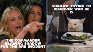 Discover, How, and Ark: SHADOW TRYING TO  DISCOVER WHO HE  IS  THE COMMANDER  BLAMING SHADOW  FOR THE ARK INCIDENT Who are you, and how do you know I'm Shadow?