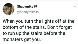 Run, Game, and Monsters: Shadymike19  @shadymike19  When you turn the lights off at the  bottom of the stairs. Don't forget  to run up the stairs before the  monsters get you. Anything if fair game ones you flip that switch.
