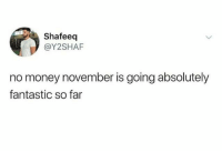 Money, MeIRL, and Absolutely: Shafeeq  @Y2SHAF  no money november is going absolutely  fantastic so far meirl