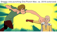 One-Punch Man: Shaggy one-punching One Punch Man, ca. 2019 (colorized)