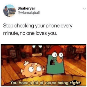 No One Loves You: Shaheryar  @Alamaiqball  Stop checking your phone every  minute, no one loves you.  You have a lot of nerve being right