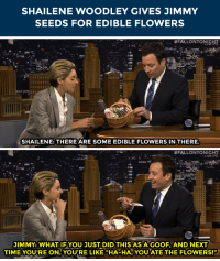 """Target, Flowers, and Http: SHAILENE WOODLEY GIVES JIMMY  SEEDS FOR EDIBLE FLOWERS   #FALLONTONIGHT  SHAILENE: THERE ARE SOME EDIBLE FLOWERS IN THERE   #FALLONTONIGHT.  JIMMY: WHAT IFYOU JUST DID THIS AS A GOOF, AND NEXT  TIME YOU'RE ON,YOUIRE LIKE """"HA-HA YOU ATE THE FLOWERS!"""" <p>Shailene Woodley wants <a href=""""http://www.nbc.com/the-tonight-show/segments/13916"""" target=""""_blank"""">Jimmy to eat flowers</a>&hellip;</p>"""