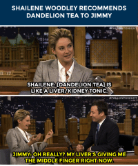 """Target, Http, and Blank: SHAILENE WOODLEY RECOMMENDS  DANDELION TEA TO JIMMY   ALLONTONIGH  SHAILENE: [DANDELION TEA] IS  LIKE A LIVER/KIDNEY TONIC   #FALLONTONIGHT.  JIMMY:OH REALLY? MY LIVER'S GIVING ME  THEIMIDDLE FINGER RIGHT NOW <p>Looks like Jimmy might take Shailene Woodley up on <a href=""""http://www.nbc.com/the-tonight-show/segments/13921"""" target=""""_blank"""">her tea recommendation</a>&hellip;</p>"""