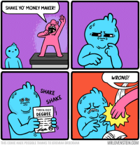 """Money, Tumblr, and Yo: SHAKE YO' MONEY MAKER!  WRONG!  SHAKE  THEOLOGY  Un SHAKE  DEGREE  THIS COMIC MADE POSSIBLE THANKS TO JEREMIAH BROCKMAN  MRLOVENSTEIN.COM <p><a href=""""http://captainvatican.tumblr.com/post/170843814842/theology-majors-can-relate"""" class=""""tumblr_blog"""">captainvatican</a>:</p>  <blockquote><p>theology majors can relate</p></blockquote>"""