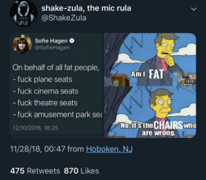 Dank, Food, and Memes: shake-zula, the mic rula  ShakeZula  Sofie Hagen  @SofieHagen  On behalf of all fat people,  fuck plane seats  Ami FAT  - fuck cinema seats  fuck theatre seats  fuck amusement park sea  NO-İTSt he  12/10/2016, 18:25  are wrong  11/28/18, 00:47 from Hoboken,NJ  475 Retweets 870 Likes Fuck food and fuck average people 😩 by MGLLN MORE MEMES