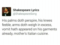 Memes, 🤖, and Song: Shakespeare Lyrics  @Shakespeare Song  His palms doth perspire, his knees  feeble, arms doth weigh in excess,  vomit hath appeared on his garments  already, mother's ltalian cuisine.