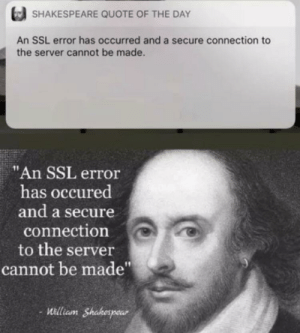"""Shakespeare, Ssl, and Quote: SHAKESPEARE QUOTE OF THE DAY  An SSL error has occurred and a secure connection to  the server cannot be made.  """"An SSL error  has occured  and a secure  connection  to the server  cannot be made""""  -illiam Shakespear  aunt"""