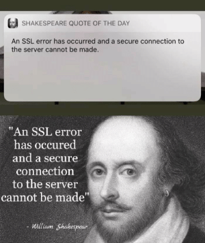"Friday, Shakespeare, and Ssl: SHAKESPEARE QUOTE OF THE DAY  An SSL error has occurred and a secure connection to  the server cannot be made.  ""An SSL error  has occured  and a secure  connection  to the server  cannot be made""  - William Shakespear Well someone deployed on Friday"