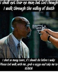 So many tears 2pac: shall not fear no man  but Cod Though  I walk through the valley of death  I shed so many tears, ifl should die before Iwake  please Cod walk with me, grab a nigga and take me to  HEAVEN So many tears 2pac