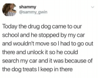 School, Search, and Today: shammy  @sammy_gwin  Today the drug dog came to our  school and he stopped by my car  and wouldn't move so l had to go out  there and unlock it so he could  search my car and it was because of  the dog treats I keep in there A wholesome one. ☺️