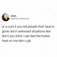 Memes, True, and Awkward: shan  @shannonheavey  ur a cunt if you tell people their face is  gone red in awkward situations like  don't you think i can feel the fookin  heat on ma skin u git True