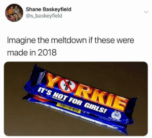 Girls, Memes, and Shane: Shane Baskeyfield  @s_baskeyfield  Imagine the meltdown if these were  made in 2018  IT'S NOT FOR GIRLS!  367 😂 😂