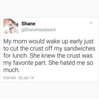 Memes, Shane, and Mom: Shane  @Shanehasabeard  My mom would wake up early just  to cut the crust off my sandwiches  for lunch. She knew the crust was  my favorite part. She hated me so  much.  9:24 AM 20 Jan 14 Don't follow @blazing if you're easily offended 🔞🤯