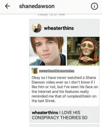 shane dawson: shanedawson  Re wheaterthins  sweett  Okay so I have never watched a Shane  Dawson video ever so I don't know if I  like him or not, but I've seen his face on  the internet and his features really  reminded me that of rumplestiltskin on  the last Shrek.  wheaterthins l LOVE HIS  CONSPIRACY THEORIES SO