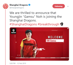 "Tumblr, Blog, and Dragons: Shanghai Dragons  @ShanghaiDragons  Following  We are thrilled to announce that  Youngjin ""Gamsu"" Noh is joining the  Shanghai Dragons.  #Shangha·Dragons #breakthroughs  DRAGONS  WELCOME  SHO Gamsu  URAGONS  重装Tank  5:00 PM - 12 Feb 2019 audvidis:"