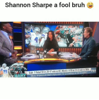 Bruh, Dallas Cowboys, and Funny: Shannon Sharpe a fool bruh  Dak: 3 Total TD in 28-17 win vs KC; Wentz: 4 TD in 51-23 win vs DEN  AST  More impressive team right now: (5-3) Cowboys or (8  s FS1 ShannonSharpe is a acting like a fool on tv lmao😂💀 HoodClips