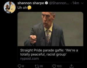 Anti Violent Racism: shannon sharpe  Uh oh  @Shannon.. .14m  ALLS  Straight Pride parade gaffe: 'We're a  totally peaceful, racist group'  nypost.com  226  103  8 Anti Violent Racism