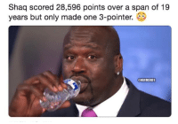 Nba, Shaq, and Unreal: Shaq scored 28,596 points over a span of 19  years but only made one 3-pointer.  NBAMEMFS Unreal...