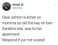 Blackpeopletwitter, Shaq, and Yo: SHAQ  @SHAQ  Dear ashton kutcher yo  momma so old the key on ben  franklins kite, was to her  apartment.  Respond if yur not scared <p>Shaq is not to be messed with (via /r/BlackPeopleTwitter)</p>