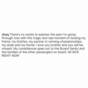 Shaq speaks on the news of #KobeBryant's passing 🙏 @Shaq #RIPKobeBrant #RIPGiannaBryant https://t.co/lzFfz0ZgCW: Shaq speaks on the news of #KobeBryant's passing 🙏 @Shaq #RIPKobeBrant #RIPGiannaBryant https://t.co/lzFfz0ZgCW