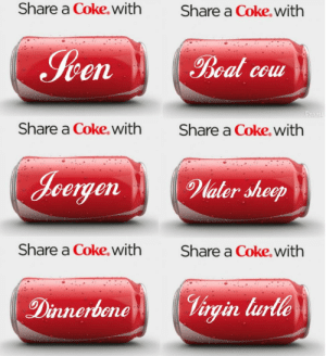 Virgin, Limited, and Water: Share a Coke.with  Share a Coke.with  Iten  Boal cou  Dexat  Share a Coke. with  Share a Coke. with  Jeergen  Water sheep  Share a Coke, with  Share a Coke.with  Virgin turlle  Dinnerbene Limited edition