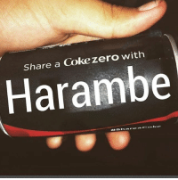 Like to share a coke with harambe 😾😓😞: Share a Coke zero with  Harambe  Share a Coke Like to share a coke with harambe 😾😓😞