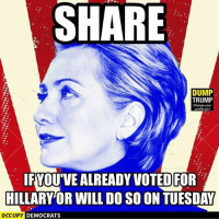 VOTE! IWillVote.com: SHARE  DUMP  TRUMP  Change your  profile pic!  IFYOUVEALREADY VOTED FOR  HILLARY OR WILL DOSO ON TUESDAY  OCCUPY DEMOCRATS VOTE! IWillVote.com
