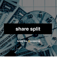 A stock split is a corporate action that increases the number of the corporation's outstanding shares by dividing each share, which in turn diminishes its price. The stock's market capitalization, however, remains the same, just like the value of the $100 bill does not change if it is exchanged for two $50s: share split  bring the  nvesting A stock split is a corporate action that increases the number of the corporation's outstanding shares by dividing each share, which in turn diminishes its price. The stock's market capitalization, however, remains the same, just like the value of the $100 bill does not change if it is exchanged for two $50s