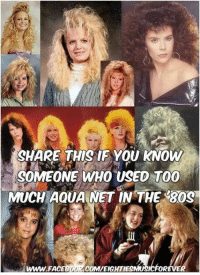 facs: SHARE THIS IF YOU KNOW  SOMEONE WHO USED TOO  MUCH AQUA NET IN THE 30g  WWW FAC  OR