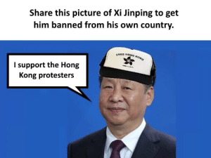 Get Him: Share this picture of Xi Jinping to get  him banned from his own country.  FREE HONG KONG  I support the Hong  Kong protesters