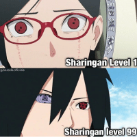 Memes, Naruto, and 🤖: Sharingan Level 1  g/sarada.officials  Sharingan level 99 Comment down Eyes letter by letter😂 follow @is.naruto for more _ credit to @sarada.officials❤