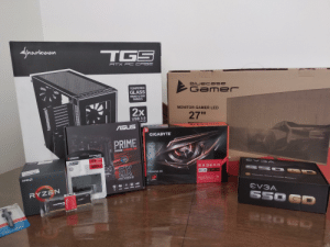 """Six years ago mom bought my first pre-built pc. Today I'm building the one I bought on my on with my first paycheck. Wish me luck!: Sharkoon  TGS  ATX PC CASE  Bluec ase  TEMPERED  2GAM er  Gamer  3.S.3  GLASS  FRONT & SIDE  PANELS  2x  MONITOR GAMER LED  27""""  USB 3.0  NECTOR  ASUS  GIGABYTE  PRIME  B450M-GAMING/BR  SOLID-STATE DRIVE  DISQUE FLASH  DRIVE A STATO SOUDO  куимот  OUS  10x FASTER  AURA  SYNC  A 400  480GB  3)  5X  OVS A  RADEON  GAMING 8G  AMDA  RX 598  PROTECÃD M  WINDFORCE  DIRECTX12 VULKANI CHILL R  FREESYNC HDR RELIVE  RYZEN  EVGA.  DOR4  FURY  UTE  550 GD  HYPER  MAS  HYPER Six years ago mom bought my first pre-built pc. Today I'm building the one I bought on my on with my first paycheck. Wish me luck!"""