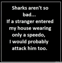 You would do the same.: Sharks aren't so  bad.  If a stranger entered  my house wearing  only a speedo  I would probably  attack him too.  Memes COM You would do the same.