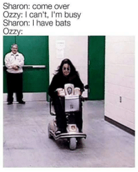 sharone: Sharon: come over  Ozzy: I can't, I'm busy  Sharon: I have bats  Ozzy:  si  0